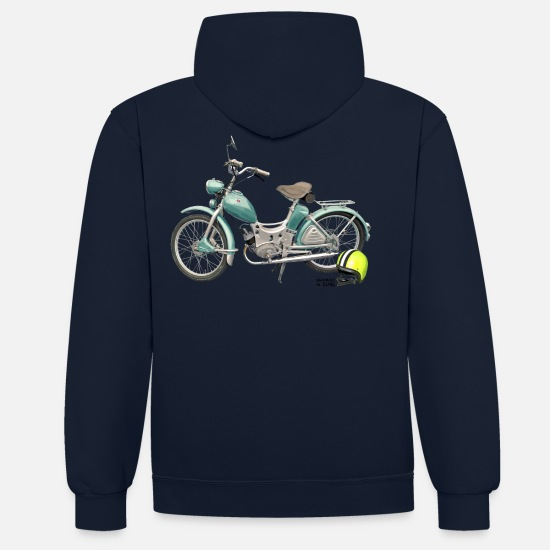 Collection Sweat-shirts - SR Simson Moped DDR oldschool ossi best roller GDR - Sweat à capuche contrasté unisexe bleu marine/rouge