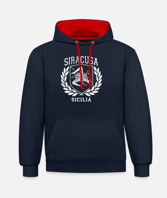 Proud Hoodies & Sweatshirts - Sicilia Flag and Shield Stuff with Trinacria - - Unisex Contrast Hoodie navy/red