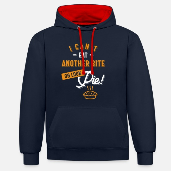 Teeing Off Hoodies & Sweatshirts - Can't Eat Another Bite Oh Look Pie Funny Thanksgiv - Unisex Contrast Hoodie navy/red