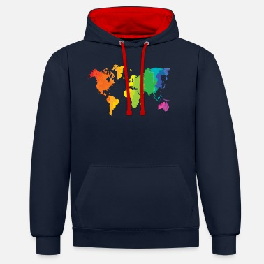 Wereld colour the world - Unisex contrast hoodie