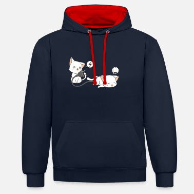 Amusing Cat in charge - Unisex Contrast Hoodie