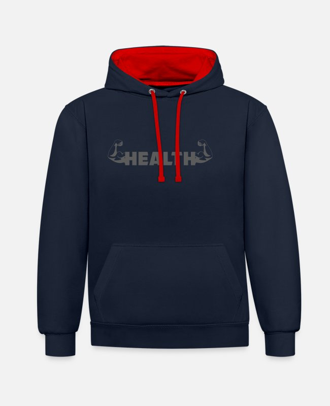 Boxing Match Hoodies & Sweatshirts - Gym - Bicep - Helath - Unisex Contrast Hoodie navy/red