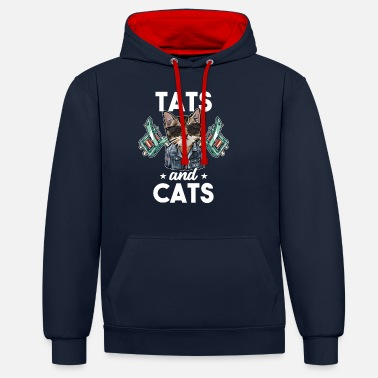 Tattooed Cat Lover - Unisex Contrast Hoodie