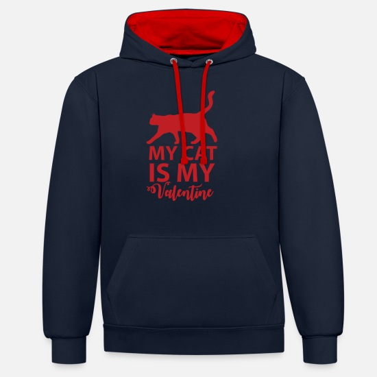 Valentine's Day Hoodies & Sweatshirts - My cat is my valentine - Unisex Contrast Hoodie navy/red