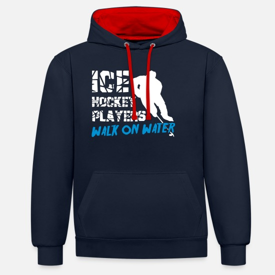 Hockey Hoodies & Sweatshirts - Ice Hockey Players Walk on Water - Unisex Contrast Hoodie navy/red