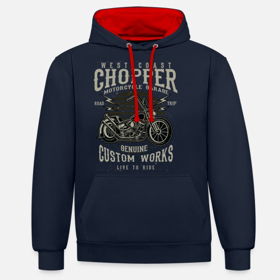 Chopper Hoodies & Sweatshirts - chopper - Unisex Contrast Hoodie navy/red