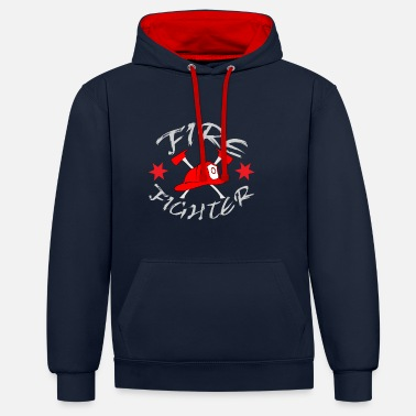 Fighter Fire Fighter helmet - Unisex Contrast Hoodie
