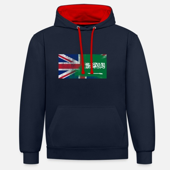 Saudi Arabia Hoodies & Sweatshirts - British Saudi Half Saudi Arabia Half UK Flag - Unisex Contrast Hoodie navy/red