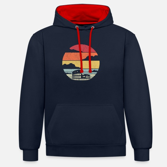 Rome Hoodies & Sweatshirts - Colosseum Design. Retro Rome Graphic, Italy - Unisex Contrast Hoodie navy/red