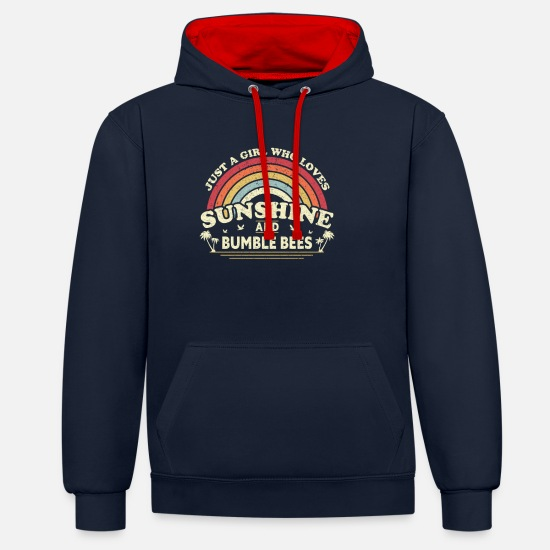 Activist Hoodies & Sweatshirts - Bee print. Just A Girl Who Loves Sunshine And - Unisex Contrast Hoodie navy/red