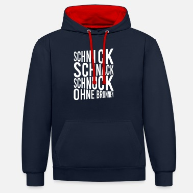 Schnack Schnick Schnack Schnuck without a fountain - Unisex Contrast Hoodie