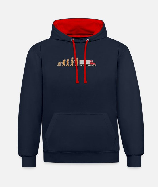 Pilot Hoodies & Sweatshirts - Funny Truck Driver Evolution Logistics Truck Gift - Unisex Contrast Hoodie navy/red