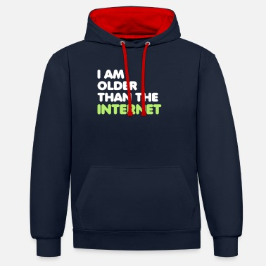 2 0 Html I am older than the internet - Unisex Contrast Hoodie