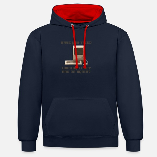 You Sweaters & hoodies - Computer off and on again - Unisex contrast hoodie navy/rood