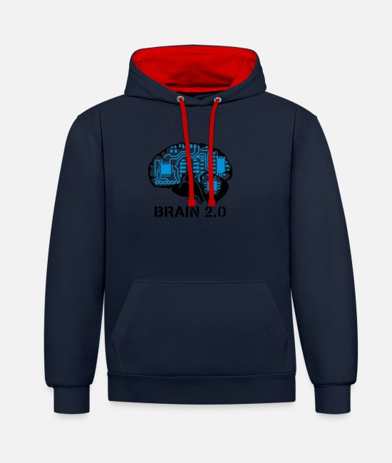 Miscellaneous Hoodies & Sweatshirts - brain 2.0 - Unisex Contrast Hoodie navy/red