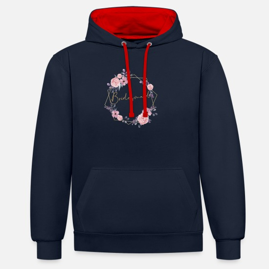 Wedding Reception Hoodies & Sweatshirts - Bridesmaid - Unisex Contrast Hoodie navy/red