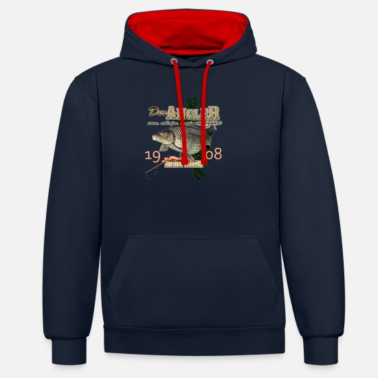 Angler Pullover & Hoodies - der Angler - Unisex Hoodie zweifarbig Navy/Rot