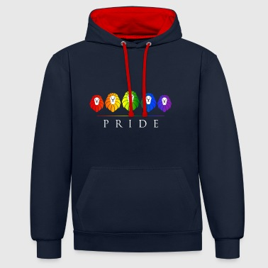 Gay Pride LGBT Rainbow Lions - Contrast Colour Hoodie