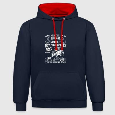 farmer tractor - Contrast Colour Hoodie