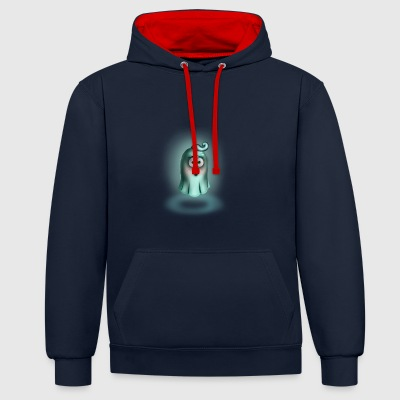 Little Turquoise Ghost - Contrast Colour Hoodie
