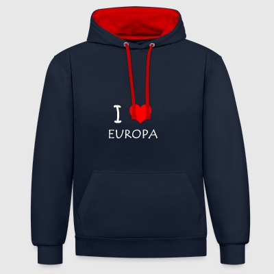 I love Europe - Contrast Colour Hoodie