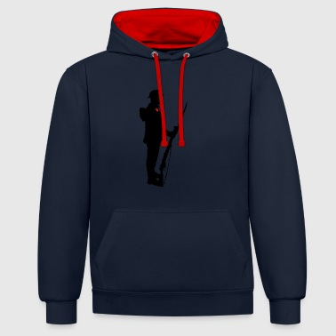 Remembrance Day Soldier WW1 - Contrast Colour Hoodie
