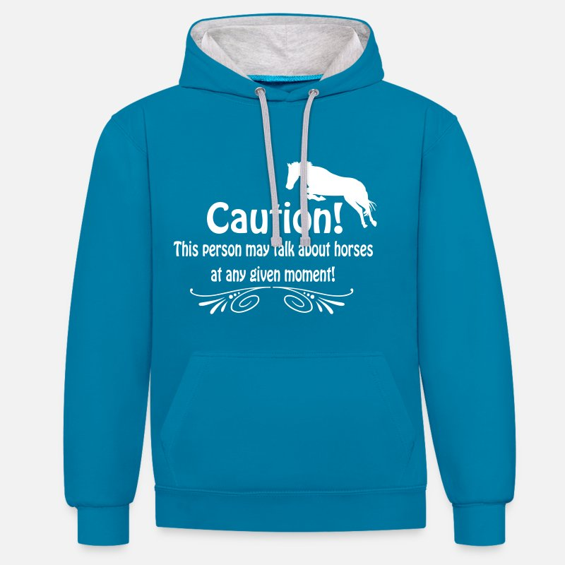 Horse Hoodies & Sweatshirts - Funny horse quote - Unisex Contrast Hoodie peacock blue/heather grey