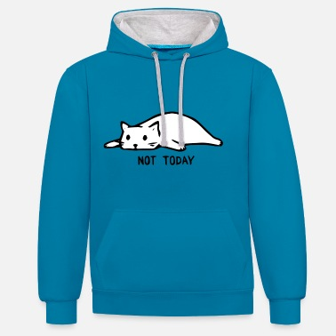 Cat Cat Not Today gift idea - Contrast Colour Hoodie