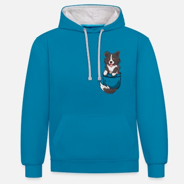 Collie Pocket Cute Border Collie Dog - Contrast Colour Hoodie