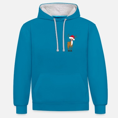 Cartoon Character A naughty reindeer  - Contrast Colour Hoodie