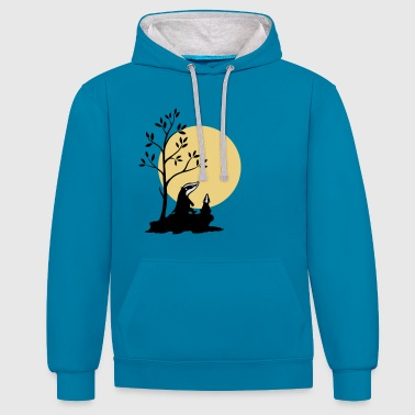 Badgers in the moonlight - Contrast Colour Hoodie