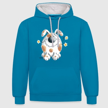 Cartoon Funny dog with flower - Contrast Colour Hoodie