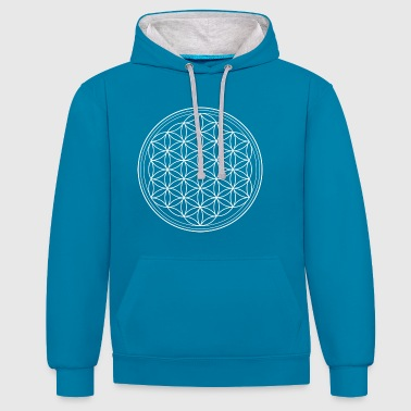 Flower of life in white - Contrast Colour Hoodie