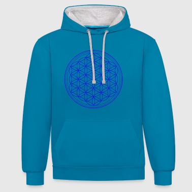 Flower of life in blue - Contrast Colour Hoodie