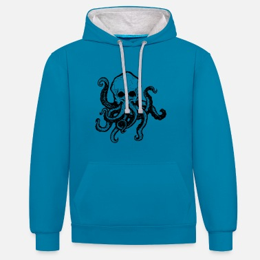Tentacle Skull with tentacle - Contrast Colour Hoodie