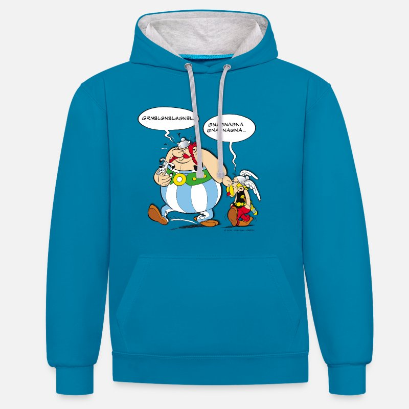 Officialbrands Sweat-shirts - Asterix & Obelix boudeur Sweat-shirt  - Sweat à capuche contrasté unisexe bleu paon/gris chiné