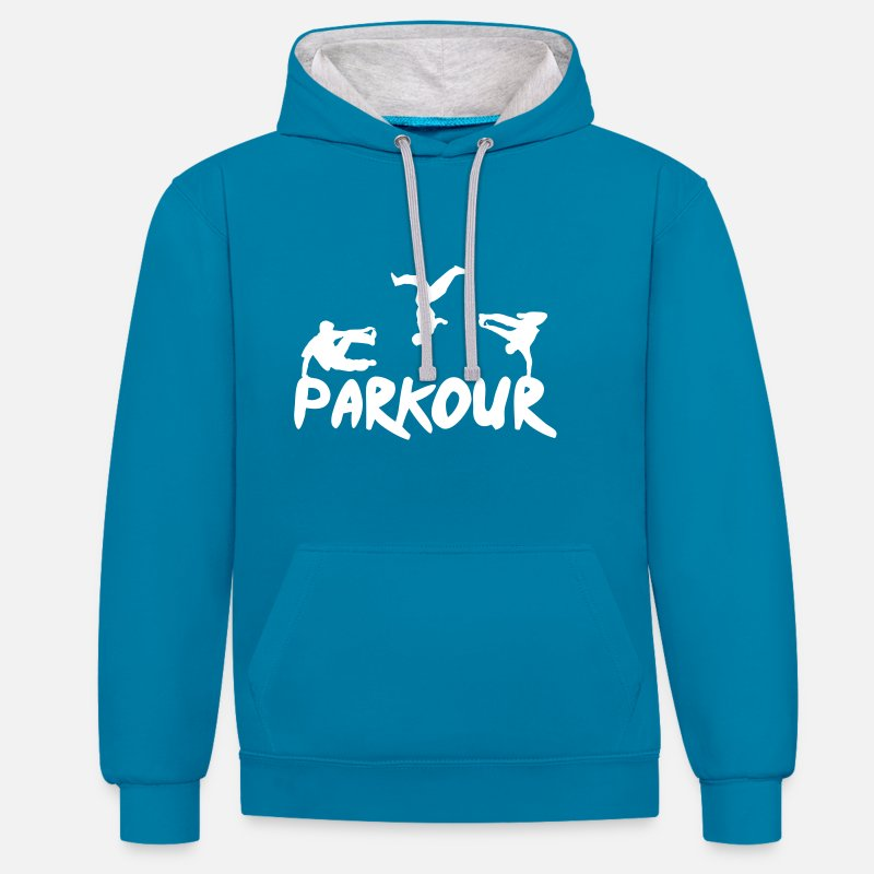 Breakdance Sweat-shirts -  Sweat-shirts - Sweat à capuche contrasté unisexe bleu paon/gris chiné