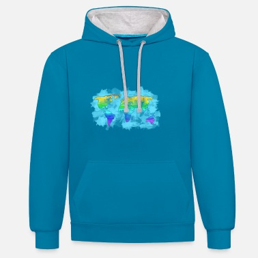 World map of the world - Contrast Colour Hoodie