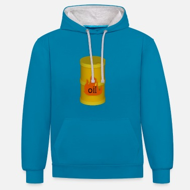 Oil Spill Yellow oil barrel - Contrast Colour Hoodie