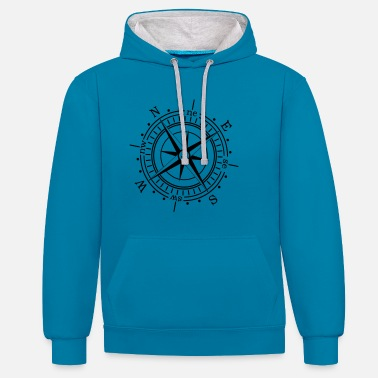 Nautical Compass anchor maritime nautical seafaring - Contrast Colour Hoodie