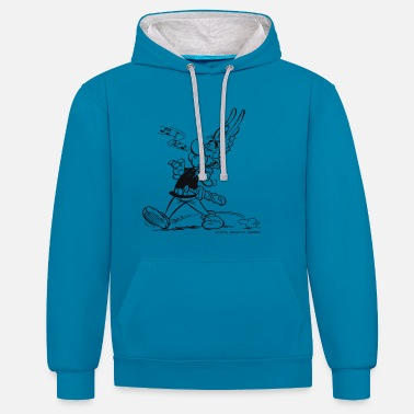 Comics &amp Asterix & Obelix - Asterix is singing Men's Hoodie - Unisex Contrast Hoodie