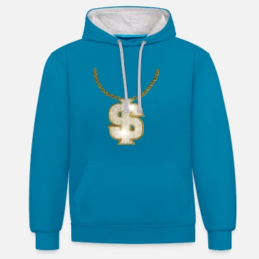 Rapper Oldschool Gold Rapper Dollar Chain - Contrast Colour Hoodie