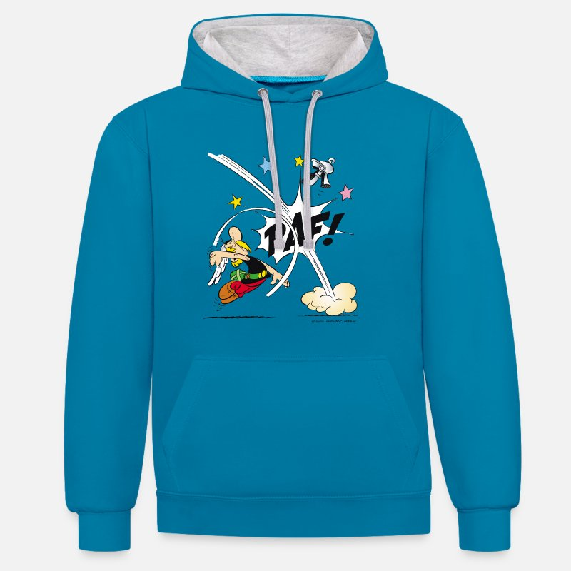 Ado Sweat-shirts - Asterix & Obelix - Asterix poing Sweat-shirt  - Sweat à capuche contrasté unisexe bleu paon/gris chiné
