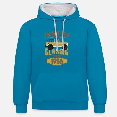 1956 Birthday Car Pick Up Truck Gift - Contrast Colour Hoodie