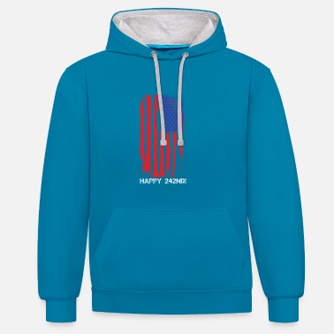 Faded USA Faded Flag Fourth Of July - Contrast Colour Hoodie