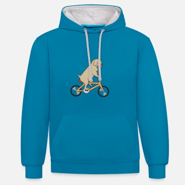 Racing Dog rides a bicycle - Contrast Colour Hoodie