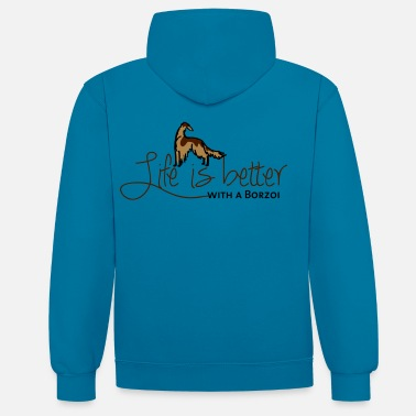Life is better - Borzoi - Contrast Colour Hoodie