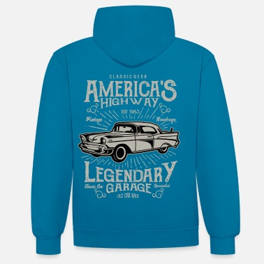 Bikes And Cars Collection America's  Highway - Sweat-shirt contraste