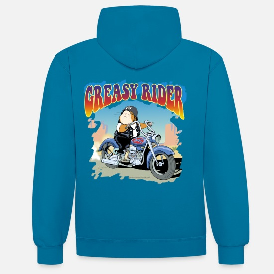 Collection Hoodies & Sweatshirts - Greasy Rider - Unisex Contrast Hoodie peacock blue/heather grey