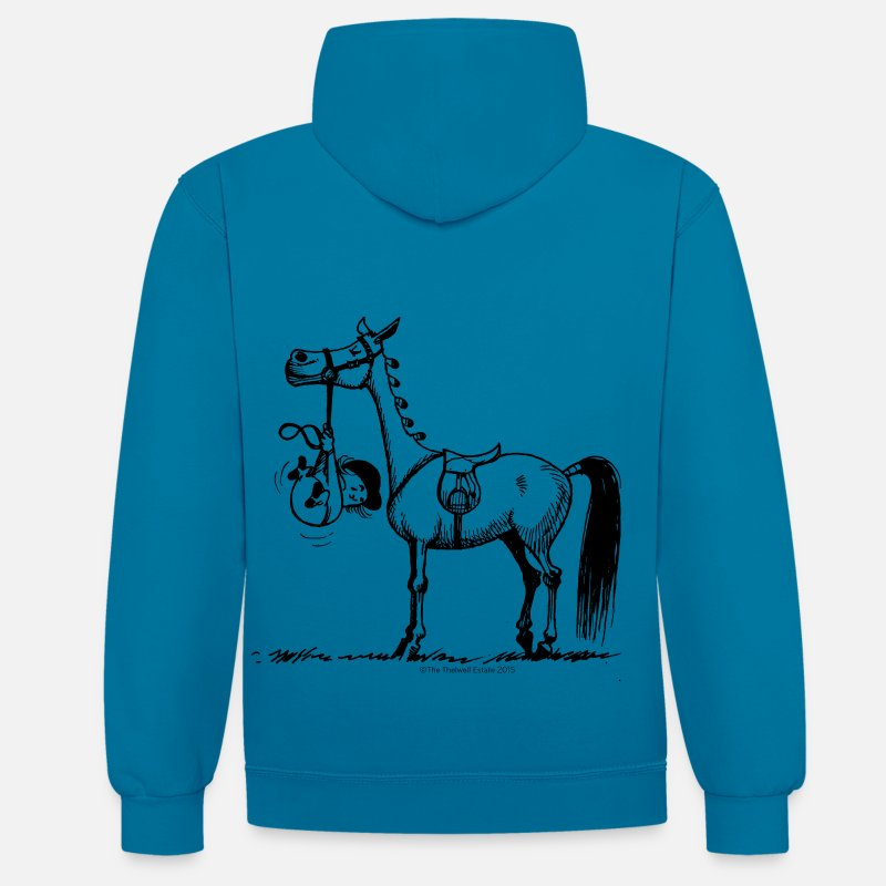 Funny Hoodies & Sweatshirts - Stubborn Pony Thelwell Cartoon - Unisex Contrast Hoodie peacock blue/heather grey